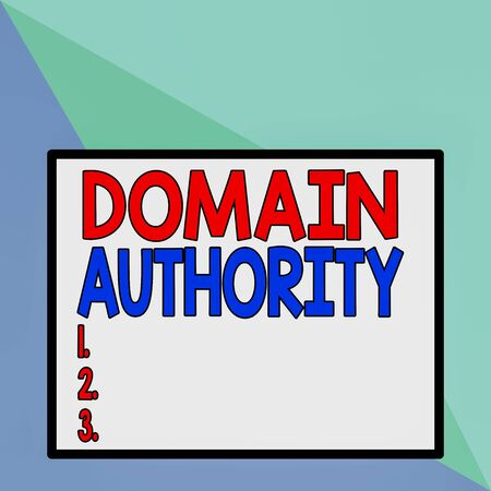 Text sign showing Domain Authority. Business photo text calculated metric for how well a domain is likely to rank Front close up view big blank rectangle abstract geometrical background