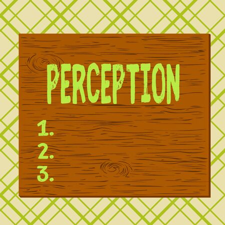 Handwriting text Perception. Conceptual photo individuals organize and interpret their sensory impressions Square rectangle unreal cartoon wood wooden nailed stuck on coloured wall