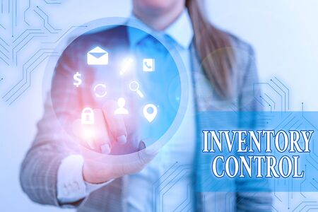 Text sign showing Inventory Control. Business photo showcasing regulating and maximising your company inventory