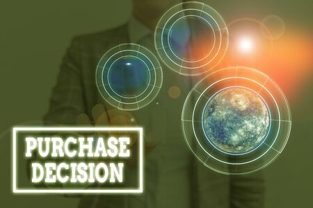 Conceptual hand writing showing Purchase Decision. Concept meaning process that leads a consumer from identifying a need
