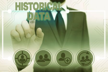 Text sign showing Historical Data. Business photo showcasing collected data about past events and circumstances