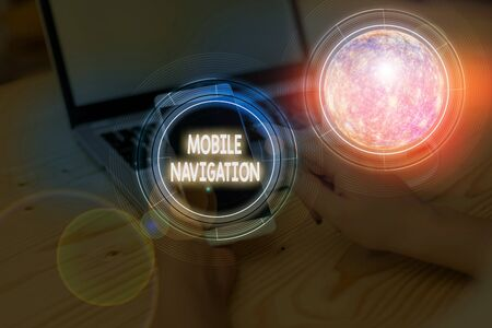 Writing note showing Mobile Navigation. Business concept for graphical user interface used to aid the vehicle driver