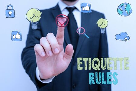 Writing note showing Etiquette Rules. Business concept for customs that control accepted behaviour in social groups