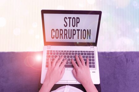 Text sign showing Stop Corruption. Business photo text Put an end in abusing of entrusted power for private gain Foto de archivo
