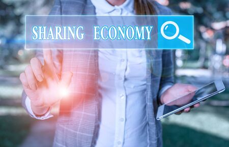 Handwriting text writing Sharing Economy. Conceptual photo collaborative consumption or peer to peer based sharing 스톡 콘텐츠