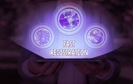 Conceptual hand writing showing Fast Registration. Concept meaning Quick method of entering certain information in a register
