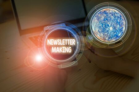 Writing note showing Newsletter Making. Business concept for printed report containing news or activities of a business
