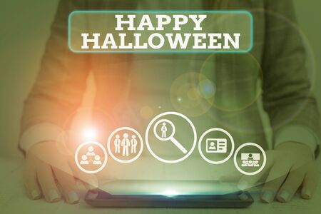 Word writing text Happy Halloween. Business photo showcasing evening before the Christian holy days of All Hallows Day