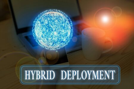 Text sign showing Hybrid Deployment. Business photo text a combination of on premises applications or data