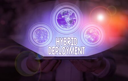 Conceptual hand writing showing Hybrid Deployment. Concept meaning a combination of on premises applications or data