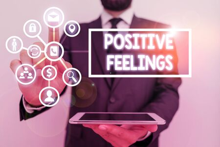 Text sign showing Positive Feelings. Business photo text any feeling where there is a lack of negativity or sadness Banco de Imagens