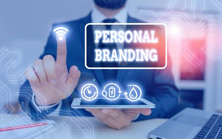 Word writing text Personal Branding. Business photo showcasing process of creating a recognizable professional name Banque d'images
