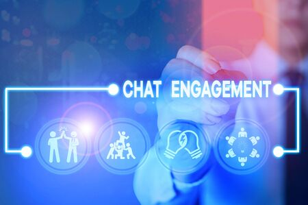 Writing note showing Chat Engagement. Business concept for customer interacts directly with a brand by conversation 写真素材