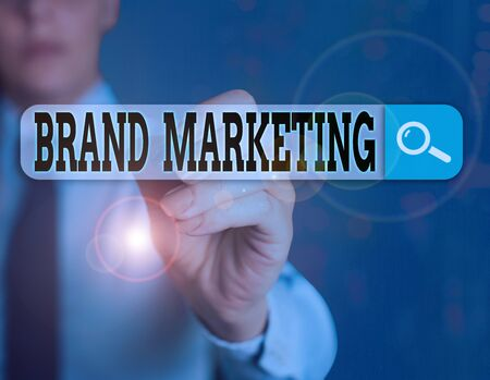 Handwriting text writing Brand Marketing. Conceptual photo creating a name that identifies and differentiates a product Banco de Imagens