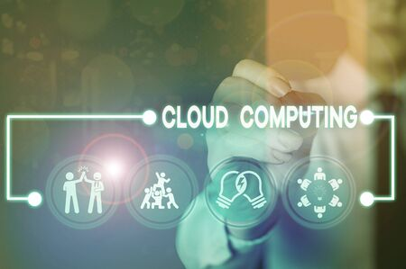 Writing note showing Cloud Computing. Business concept for storing and accessing data and programs over the Internet Stock fotó