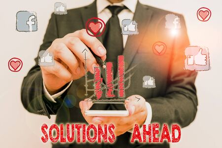 Word writing text Solutions Ahead. Business photo showcasing in advance action or process of solving a problem or issue