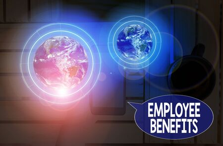 Text sign showing Employee Benefits. Business photo showcasing payments made to employees beyond the scope of wages 스톡 콘텐츠