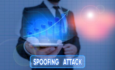 Conceptual hand writing showing Spoofing Attack. Concept meaning impersonation of a user, device or client on the Internet