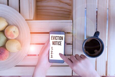 Conceptual hand writing showing Eviction Notice. Concept meaning an advance notice that someone must leave a property Stock fotó