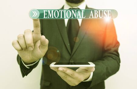 Word writing text Emotional Abuse. Business photo showcasing demonstrating subjecting or exposing another demonstrate behavior Male human wear formal work suit hold smart hi tech smartphone use one hand