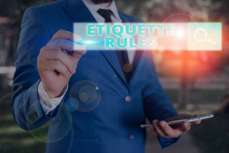 Handwriting text Etiquette Rules. Conceptual photo customs that control accepted behaviour in social groups Banque d'images