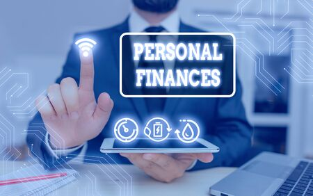 Word writing text Personal Finances. Business photo showcasing the activity of analysing own money and financial decisions