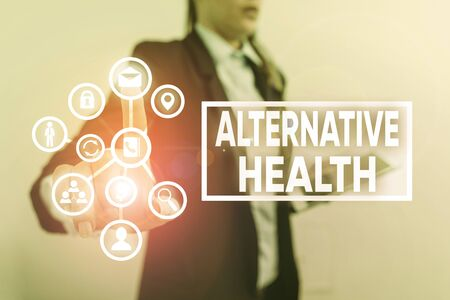 Writing note showing Alternative Health. Business concept for products and practices that are not part of standard care