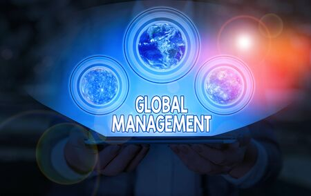 Conceptual hand writing showing Global Management. Concept meaning way an organization analysis its business internationally
