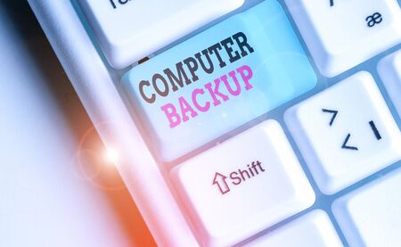 Writing note showing Computer Backup. Business concept for the act of copying of files and data onto a second medium