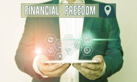 Handwriting text writing Financial Freedom. Conceptual photo make big life decisions without being stressed about money
