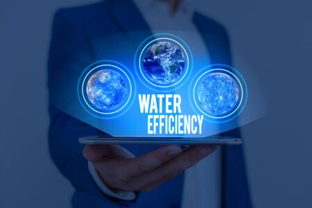 Text sign showing Water Efficiency. Business photo text reduce water wastage by measuring amount of water required Elements of this image furnished by NASA