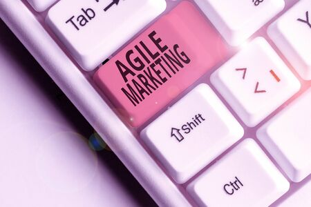 Writing note showing Agile Marketing. Business concept for focusing team efforts that deliver value to the endcustomer 写真素材