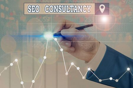 Writing note showing Seo Consultancy. Business concept for specialize in evaluating an organization website Stock Photo