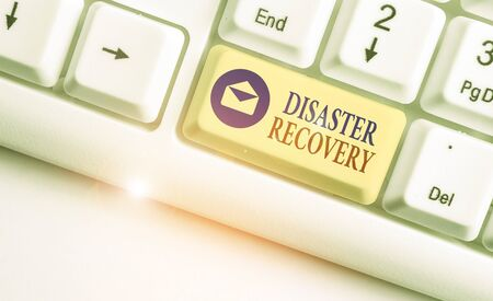 Text sign showing Disaster Recovery. Business photo text helping showing affected by a serious damaging event