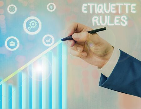Conceptual hand writing showing Etiquette Rules. Concept meaning customs that control accepted behaviour in social groups Banque d'images