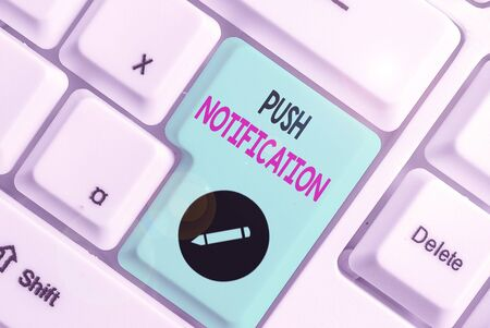 Conceptual hand writing showing Push Notification. Concept meaning automated message sent by an application to a user