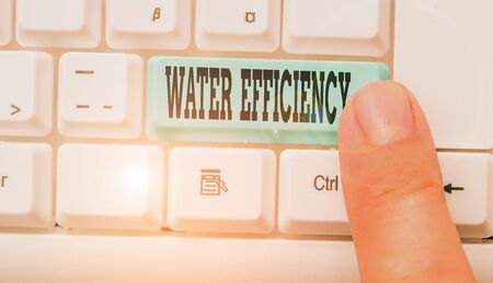 Text sign showing Water Efficiency. Business photo text reduce water wastage by measuring amount of water required