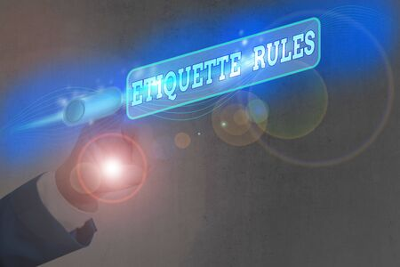 Text sign showing Etiquette Rules. Business photo text customs that control accepted behaviour in social groups Banque d'images