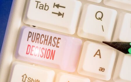 Word writing text Purchase Decision. Business photo showcasing process that leads a consumer from identifying a need,