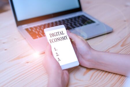 Word writing text Digital Economy. Business photo showcasing economic activities that are based on digital technologies