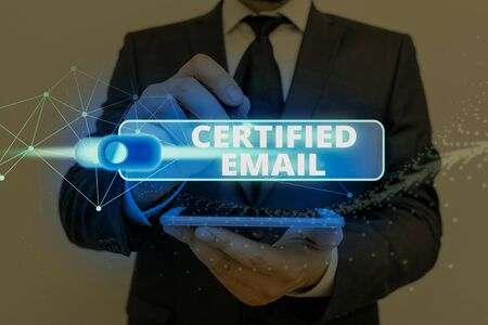Text sign showing Certified Email. Business photo showcasing email whose sending is certified by a neutral thirdparty