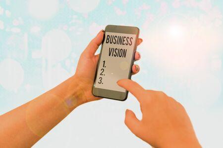 Wort schreiben Text Geschäftsvision. Geschäftsfoto mit einer Beschreibung dessen, was eine Organisation erreichen möchte