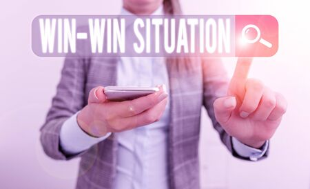 Text sign showing Win Win Situation. Business photo showcasing situation where all the parties benefit one way or another Business concept with mobile phone and business woman
