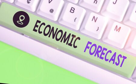 Word writing text Economic Forecast. Business photo showcasing attempting to predict the future condition of the economy