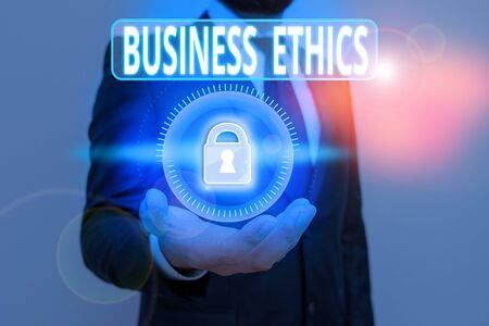 Handwriting text Business Ethics. Conceptual photo study of appropriate business policies and practices