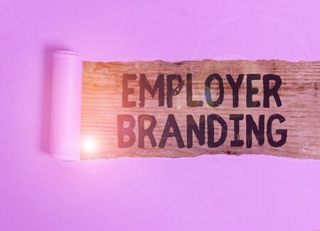 Handwriting text Employer Branding. Conceptual photo process of articulating your company unique message Cardboard which is torn in the middle placed above a wooden classic table Stock Photo