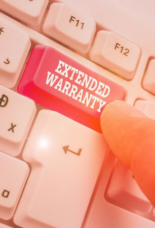 Writing note showing Extended Warranty. Business concept for contract which gives a prolonged warranty to consumers
