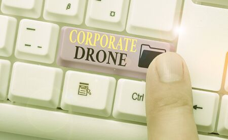 Writing note showing Corporate Drone. Business concept for unmanned aerial vehicles used to monitor business vicinity