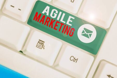 Text sign showing Agile Marketing. Business photo showcasing focusing team efforts that deliver value to the endcustomer 写真素材