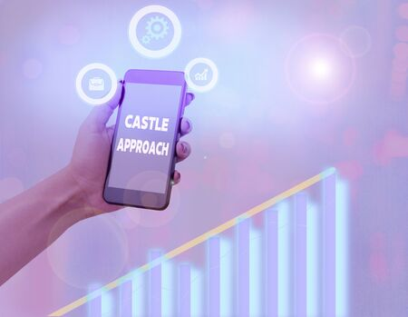 Word writing text Castle Approach. Business photo showcasing Fortified place built by nobles Home for nobility or royalty